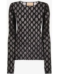 Gucci GG Embroidered Tulle Top - Black