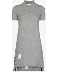 Thom Browne Striped Cotton Pique Polo Dress - Gray