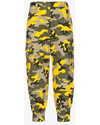 Miu Miu - Diamante Camouflage Print Cotton Blend Trousers - Lyst