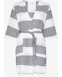 lemlem Selamawi Patterned Cotton Robe - White
