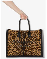 Saint Laurent Rive Gauche Leopard-print Tote Bag - Brown
