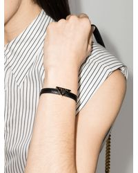 Prada Triangle Logo Leather Bracelet - Black