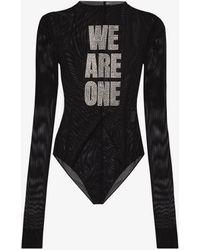 MISBHV Slogan Mesh Bodysuit - Black