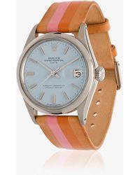 La Californienne Pastel Blue Marigold Rolex Oyster Perpetual Date Watch 34mm