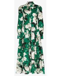 Erdem Josianne Floral-print Cotton-poplin Midi Dress - Green