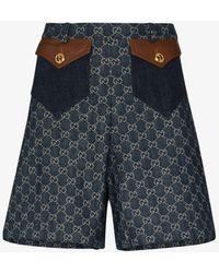 Gucci GG Monogram High Waist Shorts - Blue