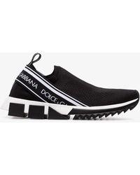 Dolce & Gabbana Black Atletica Stretch Slip-on Sneakers