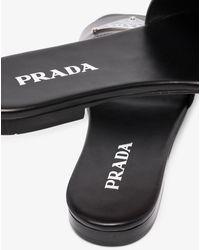 Prada Logo Leather Slides - Black