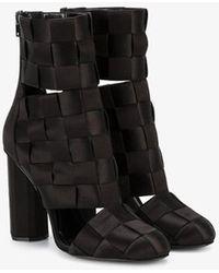 Marco De Vincenzo Woven Satin Boots - Black