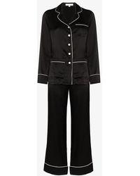 Olivia Von Halle Coco Silk Pyjamas - Black