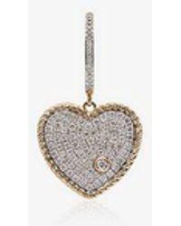 Yvonne Léon - 18k Yellow Gold Diamond Heart Hoop Earring - Lyst