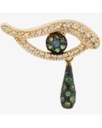 Ileana Makri 18k Yellow Gold Evil Eye Diamond Embellished Single Earring - Metallic