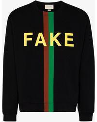 Gucci 'fake/not' Print Sweatshirt - Black