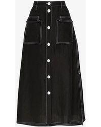 Maryam Nassir Zadeh Contrast Stitch Silk Blend Skirt - Black