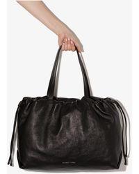 Brunello Cucinelli Drawstring Leather Tote Bag - Black