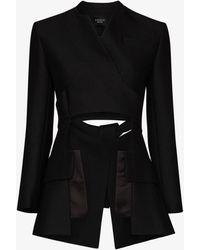 A.W.A.K.E. MODE Deconstructed Wrap Blazer - Black