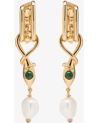 Chloé Womens Pink Gold Tone Twisted Snake Drop Earrings