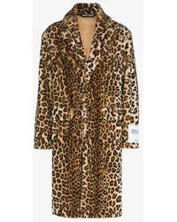 Palm Angels Leopard Print Faux Fur Coat - Brown