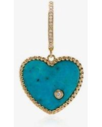 Yvonne Léon - 18k Yellow Gold Diamond And Turquoise Singular Drop Earring - Lyst