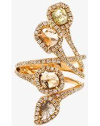 Saqqara - 18k Yellow Gold Diamond Quatrain Ring - Lyst