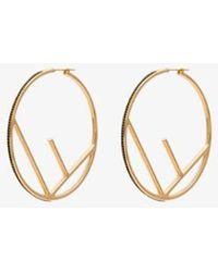 Fendi Gold Tone And Black F Is Large Hoop Earrings - Metallic