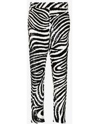 Ashish Zebra Sequinned Pants - Black