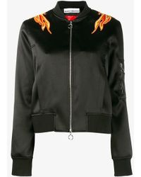 Paco Rabanne Embroidered Flame Bomber Jacket - Black