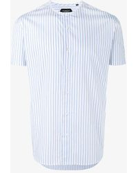 Curieux - Stripe Collarless Shirt - Lyst