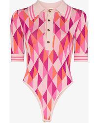 Dodo Bar Or Meg Geometric Jacquard Knit Bodysuit - - Nylon/viscose - Pink