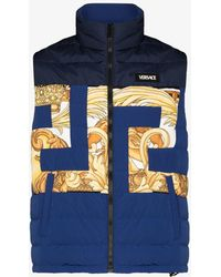 Versace Greca Pattern Quilted Gilet - Blue