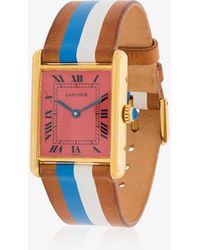 La Californienne - Pink Vintage Cartier Leather And Silver Watch - Lyst