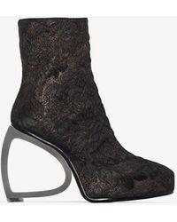 Ann Demeulemeester Black 125 Sculpted Heel Brocade Ankle Boots