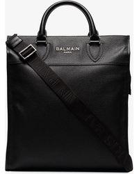 Balmain Black Oversized Leather Tote