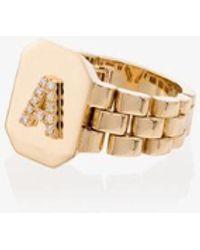 SHAY 18kt Yellow Gold Diamond A Initial Ring - Metallic