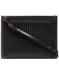 Christian Louboutin - Black Sky Spike Embellished Leather Pouch - Lyst