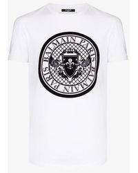 Balmain Coin Logo-flocked Cotton-jersey T-shirt - White