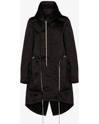 Rick Owens Bauhaus Fishtail Parka Coat - Black