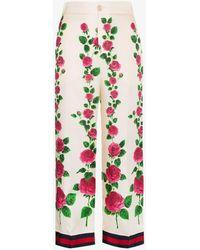 Gucci Rose Garden Print Silk Pajama Pants - Pink