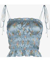 Reformation Viviana Floral Print Silk Top - Blue