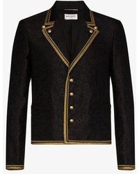 Saint Laurent Floral Jacquard Military Blazer - Black