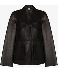 Totême Flap Pocket Leather Jacket - Blue
