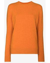 The Elder Statesman Crew Neck Cashmere Jumper - Orange