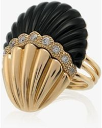 Yvonne Léon 18k Yellow Gold And Black Shell Diamond Ring - Multicolor