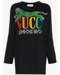 6044bf2371bd Gucci Oversize T-shirt With Cities Print in White - Lyst