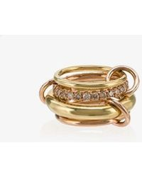 Spinelli Kilcollin - 18k Yellow And Rose Gold Luna Diamond 4 Link Ring - Lyst
