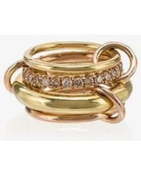 Spinelli Kilcollin - Yellow And Rose Gold Luna Diamond 4 Link Ring - Lyst
