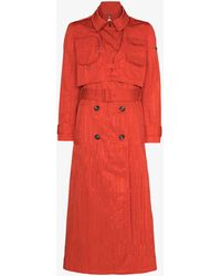 Marine Serre X Browns Laye Moire Trench Coat - Red