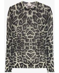 Dries Van Noten Jelle Leopard Print Jumper - Grey