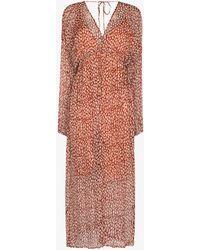 Cloe Cassandro Iman Crinkled Silk Midi Dress - Brown