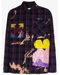 Off-White c/o Virgil Abloh Kiss Over Embroidered Oversized Shirt - Purple